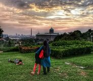 Stunning everning sun set view in  Taman Perdana Putra Putrajaya, the famous recreational park in Putrajaya