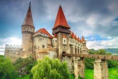 The stunning famous corvin castle,Hunedoara,Transylvania,Romania,Europe. Beautiful panorama of the Corvin castle with wooden bridge,Hunedoara,Transylvania Royalty Free Stock Photography