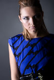 Stunning Fashion Model in Blue Dress Royalty Free Stock Photos