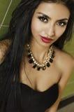 Stunning fashion model chic black dress Stock Image