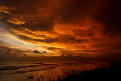 Stunning flaming sunset. And ocean view from Galle fort, Sri Lanka royalty free stock images