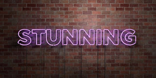 STUNNING - fluorescent Neon tube Sign on brickwork - Front view - 3D rendered royalty free stock picture. Can be used for online banner ads and direct mailers Stock Image