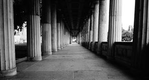 Stunning Focal Point Hallway Lined with Pillars Royalty Free Stock Photography