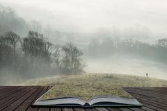 Stunning foggy English rural landscape at sunrise in Winter with layers rolling through the fields coming out of pages in magical. Beautiful foggy English stock image
