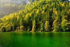 Stunning głęboko - zieleń nawadnia Konigssee, zna jako Niemcy ` s głęboki i czysty jezioro, lokalizować w krańcowym południowo-ws Zdjęcie Royalty Free