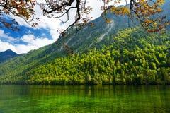 Stunning głęboko - zieleń nawadnia Konigssee, zna jako Niemcy ` s głęboki i czysty jezioro, lokalizować w krańcowym południowo-ws Zdjęcia Royalty Free