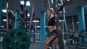 Stunning girl in the gym stock video