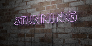STUNNING - Glowing Neon Sign on stonework wall - 3D rendered royalty free stock illustration. Can be used for online banner ads and direct mailers Stock Image