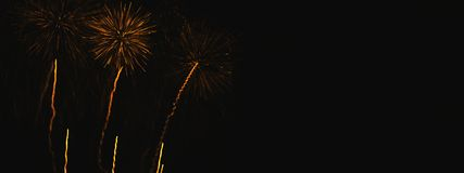 Stunning gold yellow flowers in fireworks projections on the background of the night sky. Picture frame with free space for text. royalty free stock photography