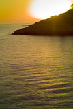 Stunning golden sunset in the bay. Vis Island in Adriatic sea- Croatia Royalty Free Stock Images