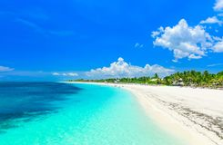 Amazing view of a tropical white sand beach and tranquil turquoise ocean at Cayo Coco island, Cuba. Stunning gorgeous, amazing view of a tropical white sand stock photography