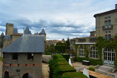 The stunning gothic castle of Carcassonne, surrounded by beautiful nature.France. stock photos