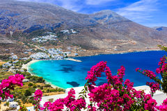 Stunning Greek beaches in Amorgos island,Aegialis bay, Cyclades. Incredible nature in Amorgos island,Greece royalty free stock images