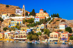 Stunning Greek Island. Beautiful summers day on the Greek island of Symi in the Dodecanese Greece Europe stock photography