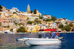 Stunning Greek Island. Beautiful summers day at Symi on the Greek island of Symi in the Dodecanese Greece Europe stock image