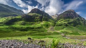 Stunning green mountains of Glencoe in Scotland in summer stock video