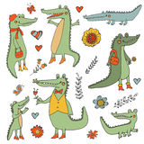Stunning hand drawn crocodiles set Stock Photography