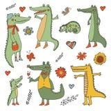Stunning hand drawn crocodiles set Stock Photo