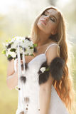 Stunning hippie bride with flowers Royalty Free Stock Photos