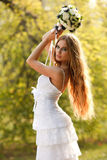 Stunning hippie bride with flowers Stock Photography