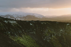 Stunning Iceland krajobrazu fotografia Obrazek vulcano Kerid z zmierzchem Od Lodowatych fjords śnieżne góry zamrażać laguny Fotografia Stock