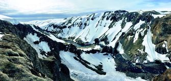 Stunning Icelandic Mountains. Icelandic mountains covered in snow Royalty Free Stock Photo