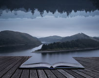 Stunning impossible puzzling conceptual landscape image of lake Royalty Free Stock Photography