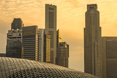 Stunning and impressive cityscape on sunset with Singapore CBD C Royalty Free Stock Image