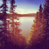Stunning instagram of peaceful lake in evening. At summer royalty free stock photo