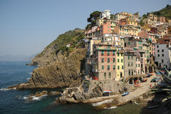 Stunning Italy - village of Riomaggiore. Riomaggiore, one of the stunningly beautiful  Italian Cinque Terre villages and a UNESCO world heritage site Royalty Free Stock Image