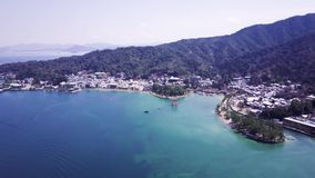 Stunning Japanese Landscape Of Miyajima Shrine From The Air On Spring Day, 4k. Stunning Japanese Landscape Of Miyajima Shrine From The Air On Spring Day, the stock footage