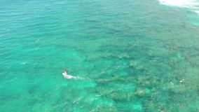 Stunning 4k aerial drone view of windsurder gliding slowly in calm waves of turquoise blue Pacific ocean water in Hawaii. Stunning aerial drone view of stock footage