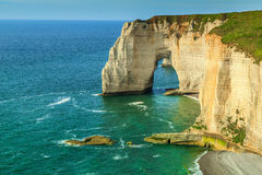 Stunning la Manneporte natural rock arch wonder,Etretat,Normandy,France Stock Photos
