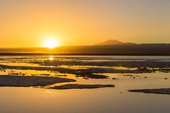 Stunning landscape in Atacama Desert, north of Chile, South America. Orange sunset in the Atacama Desert, north Chile, South America royalty free stock image