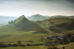 Stunning landscape of Chrome Hill and Parkhouse Hill in Peak Dis royalty free stock images