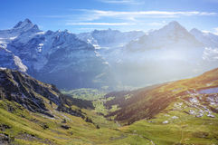 Stunning landscape of green grass Alp mountains with sun shine w Stock Photos