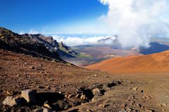 Stunning landscape of Haleakala volcano crater seen from the Sliding Sands trail, Maui, Hawaii Royalty Free Stock Photos
