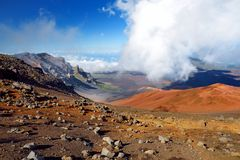Stunning landscape of Haleakala volcano crater taken from the Sliding Sands trail. Maui, Hawaii, USA. Royalty Free Stock Image