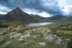 Stunning landscape image of countryside around Llyn Ogwen in Sno. Beautiful landscape image of countryside around Llyn Ogwen in Snowdonia during early Autumn stock image