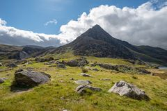 Stunning landscape image of countryside around Llyn Ogwen in Sno royalty free stock images