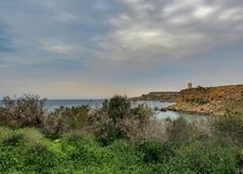 Stunning landscape of Maltese nature Qarraba between Gnejna bay and Ghajn tuffieha bay Riviera, Ta Lippija, Mgarr, Malta royalty free stock images