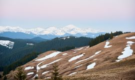 Stunning landscape of nature. Snowy mountains beautiful natural view from the top of a rock landscape copyspace background activity travelling recreation sport Royalty Free Stock Photography
