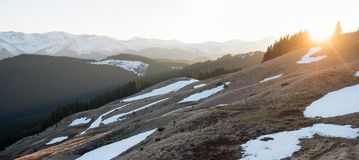 Stunning landscape of nature. Sunrise in the mountains beautiful natural landscape Stock Photography