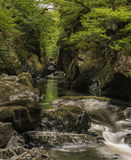 Stunning landscape with river flowing through deep sided gorge w Royalty Free Stock Photos