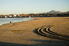 Stunning landscape with sandy beach of hendaye on a sunny day with mountain la rhune in the back Stock Images