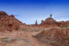 Stunning landscape of Tatacoa desert under deep blue evening sky Royalty Free Stock Photos
