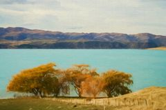 Stunning landscape of torquise lake in New Zealand Stock Images