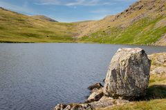 Stunning landscape view of Greendale Tarn in the Lake District N. Ational Park in the UK on a beautiful sunny summer day royalty free stock photo