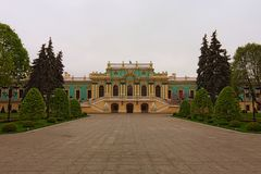 Stunning landscape view of Mariyinsky Palace in Kyiv, Ukraine. It is the official ceremonial residence of the President of Ukraine.  royalty free stock photos