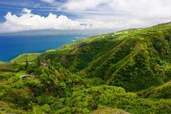 Stunning landscape view seen from Waihee Ridge Trail, overlooking Kahului and Haleakala, Maui, Hawaii. USA Stock Photography